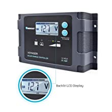 Renogy Voyager - 20A Negative-Ground PWM Controller Waterproof Solar Charge Controller w/LCD Display and LED Bar