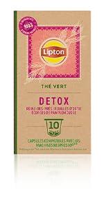 Lipton Thé Vert Detox 10 Capsules, reine des prés, ortie et écorce de pamplemousse, santé, tisane