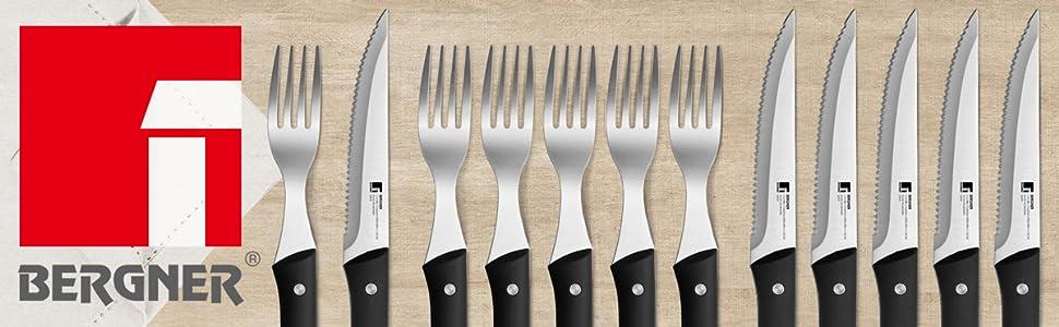 Bergner Set Cubertería 12PCS Cuchillos Tenedores Acero Inoxidable Masterpro Gourmet Pepe Rodríguez