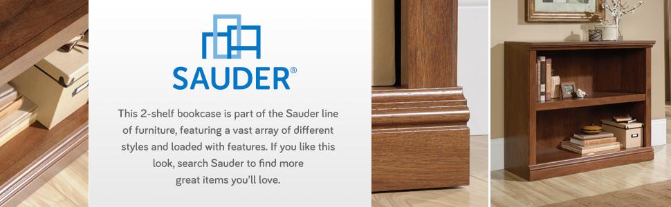 Sauder 2-Shelf Bookcase in a Oiled Oak finish