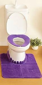 日本製 消臭 洗える サンコー ズレない トイレ 便座 カバー トイレマット セット バイオレット ふんわり おくだけ吸着 KG-50 5つ星のうち4.0 59