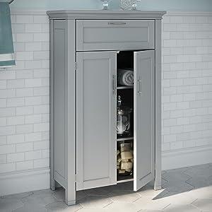 gray two door floor cabinet