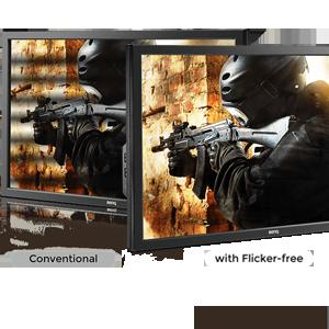 Flicker-free Technology helps reduce eye strain