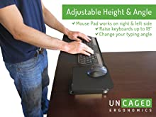 affordable ergonomic adjustable height angle standing desk keyboard tray negative tilt