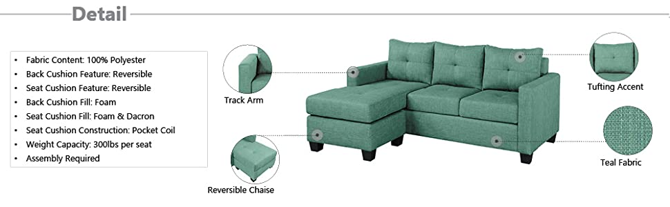 Magnificent Homelegance Phelps 78 X 58 Fabric Reversible Chaise Sofa Teal Gmtry Best Dining Table And Chair Ideas Images Gmtryco