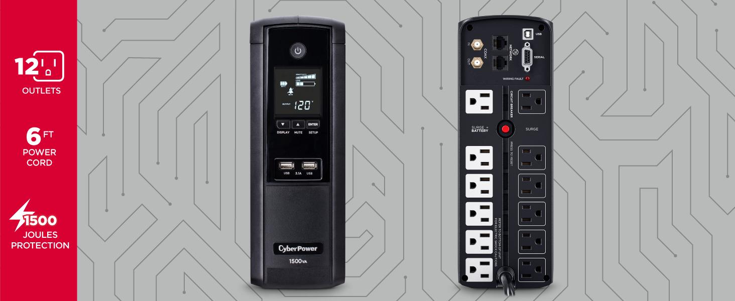 CyberPower BRG1500AVRLCD Battery Backup UPS - Hotspots
