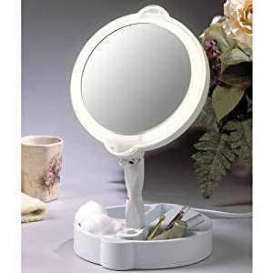 floxite;mirrors;makeup mirrors;travel mirrors;stationary;bright light;15x;9x;magnified;double sided