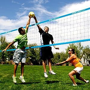 grass volleyball, volleyball set, blue