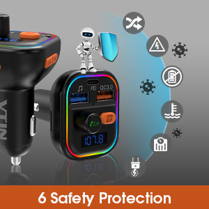 41W PD /& QC3.0 Quick Charge Bluetooth Transmitter Deep Bass Wireless Hands-Free MP3 Car Charger Kit 9 Backlight Modes with RGB Support Siri Google Assistant【2020 NEW ARRIVAL】 VTIN FM Transmitter For Car Bluetooth 5.0