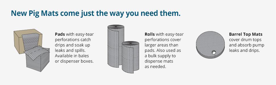 oil drip pad, pig universal, universal mat, mat roll, oil roll, oil sorbent, oil sorbent pads