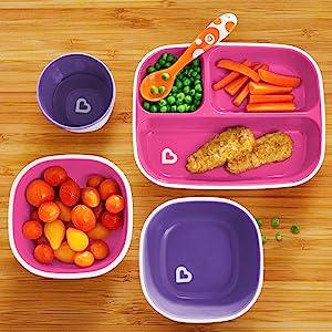 Bowl /& Cup Dining Set Munchkin Splash 6 Piece Toddler Divided Plate Blue Sprinkles