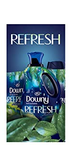 downy infusions fabric conditioner, fabric softener, refreshing scent, dryer sheets, scent beads