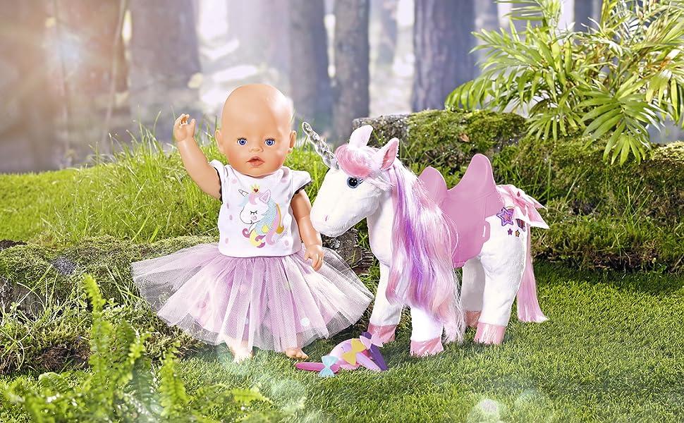 Baby born; unicorn, doll accessories, horse, magical, zapf creation.
