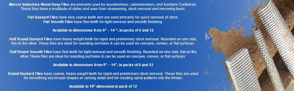 Smooth Cut 8 8 Mercer Industries BHRS08 Half Round File 12 Pack
