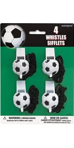 Soccer Ball Whistle Party Favors 4ct