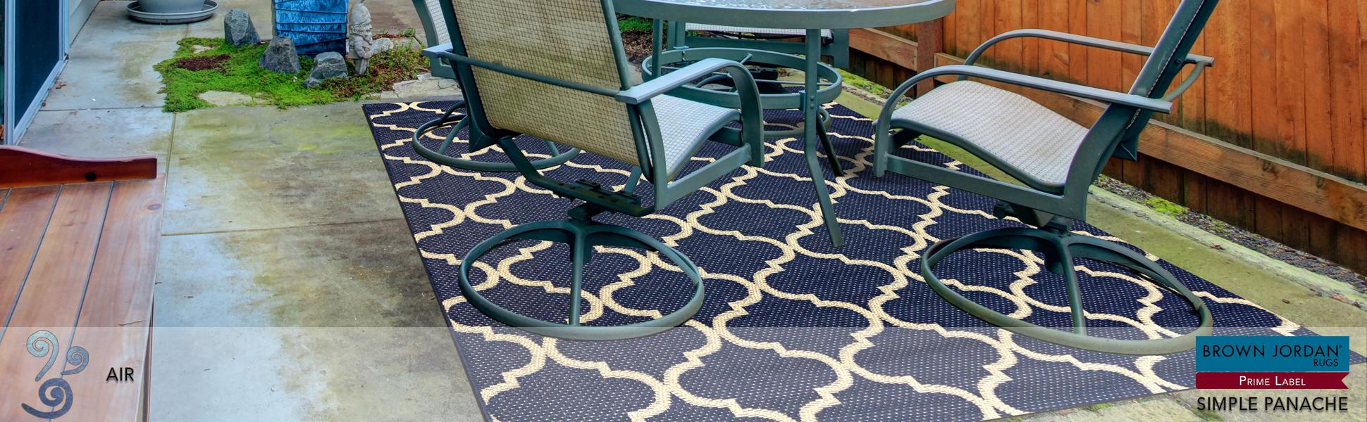 Brown Jordan Prime Label Outdoor Furniture Rug 8x10 Seneca Collection Blue Sisal