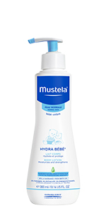 Mustela hydra baby lotion bottle with pump is a hypoallergenic, daily hydrating skin care routine