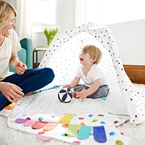 play tent organic cotton ball baby to toddler grow with me teepee