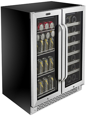 """BWB-3388FDS Whynter 30"""" Built-In French Door Dual Zone 33 Bottle Wine Refrigerator 88 Can Beverage"""