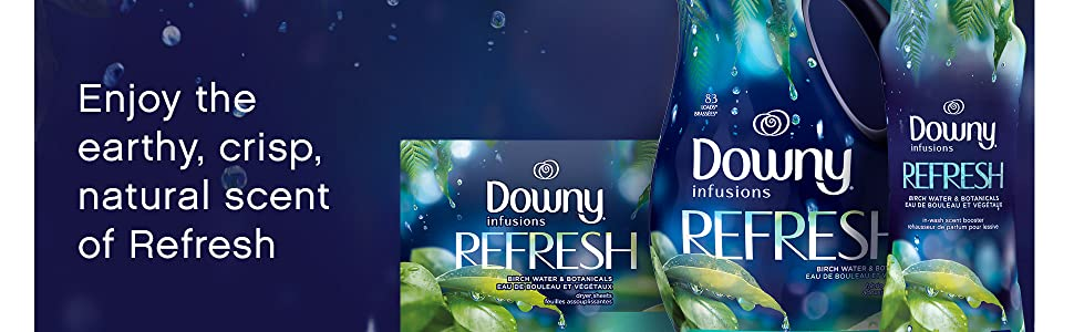 enjoy the earth, crisp, natural scent of refresh, downy infusions fabric conditioner, dryer sheets