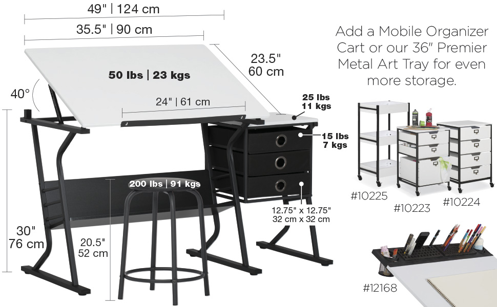 craft table, drafting table, drawing table, adjustable top table, tilting top table