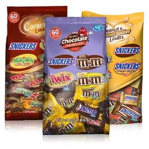 Bags of assorted fun size chocolates in bulk and individually wrapped.