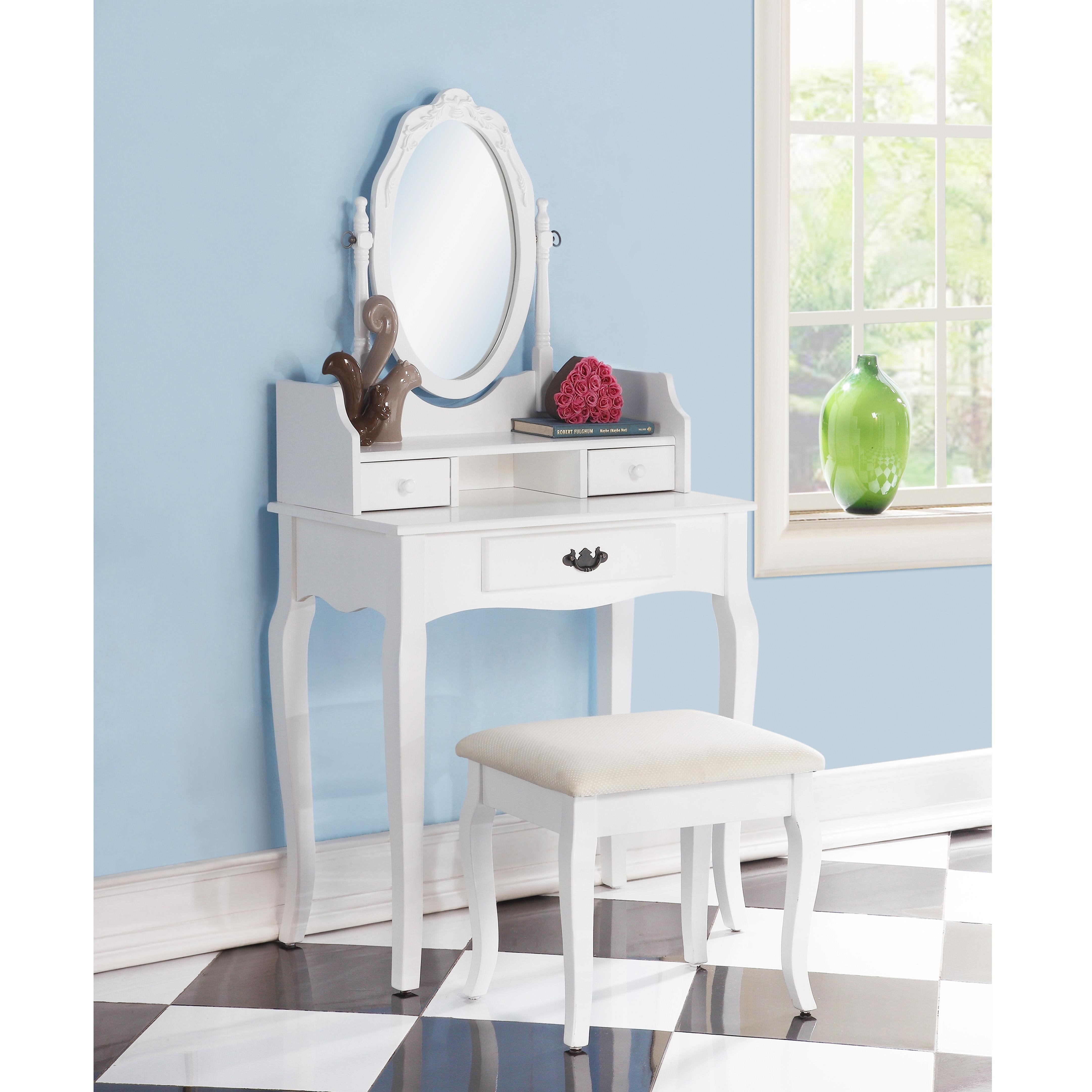 Roundhill Furniture Ribbon Wood Make Up Vanity Table And Stool Set