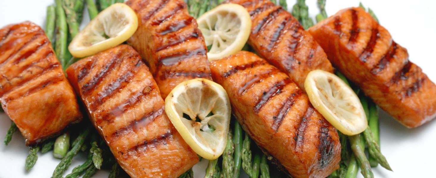 crispy salmon, grilled salmon, grilled vegetables, grilled veggies, char grilled veggies, grill fish