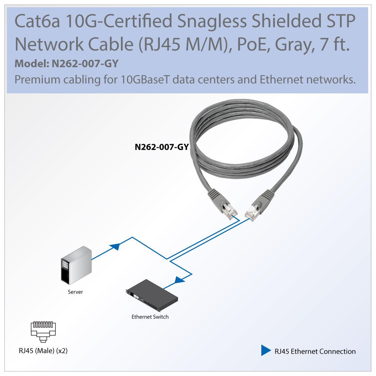 Tripp Lite Cat6a Snagless Shielded Stp Network Patch Poe Cat5e Wire Diagram View Larger