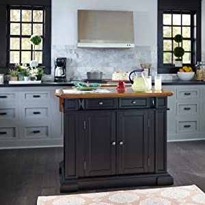 Genial Kitchen Island Black And Distressed Oak