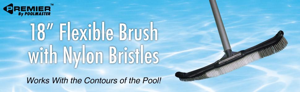 flexible pool brush;curved brush;pool brush;swimming pool brush;pool brushes for cleaning pool