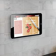 ipad mounted on kitchen backsplash