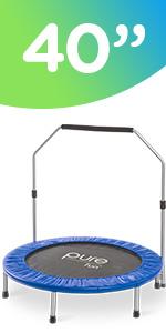 "40"" Mini Rebounder Trampoline with Adjustable Handrail"
