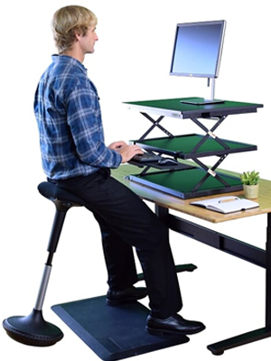Active sitting adjustable height standing desk stool chair