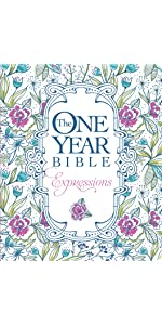 one year, daily devotional, softcover, blue flowers, coloring bible, journaling, wide margins
