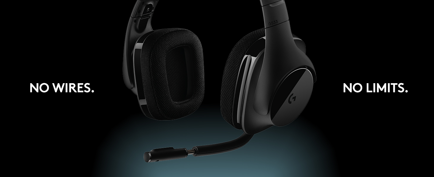 Logitech G533 Gaming Headset with Wireless DTS 7 1 Surround Sound, Black