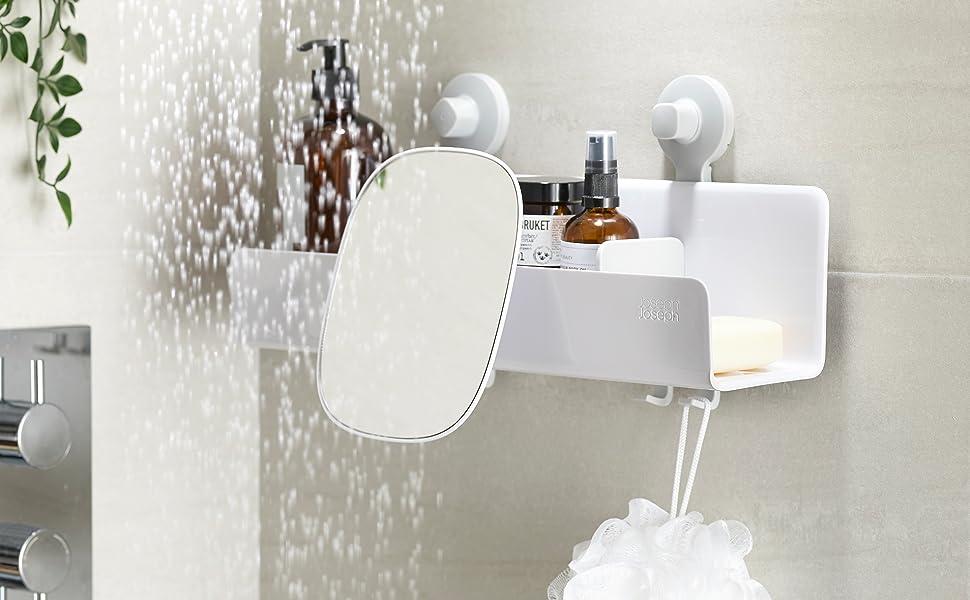 Amazon.com: Joseph Joseph EasyStore Shower Caddy with Adjustable Mirror,  Large, White : Home & Kitchen