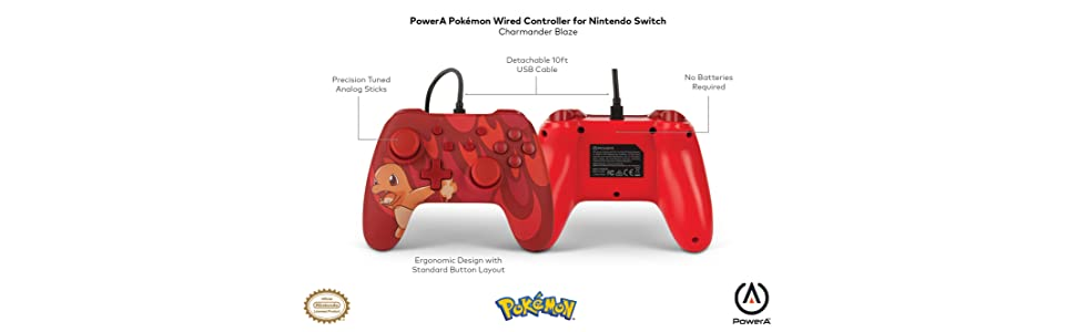 PowerA Mando con cable para Nintendo Switch: Pokémon - Charmander Blaze: Amazon.es: Videojuegos