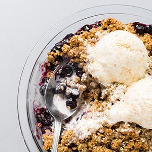 blueberry crumble dessert summer tahini oats ice cream cinnamon milk street chris kimball