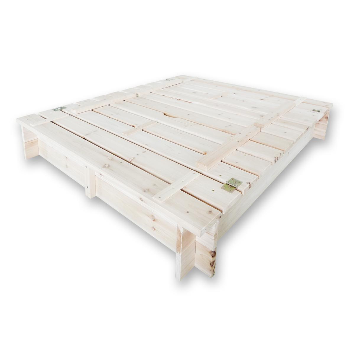 habau 3022 sandkasten mit deckel und bank 120x120x20 cm spielzeug. Black Bedroom Furniture Sets. Home Design Ideas