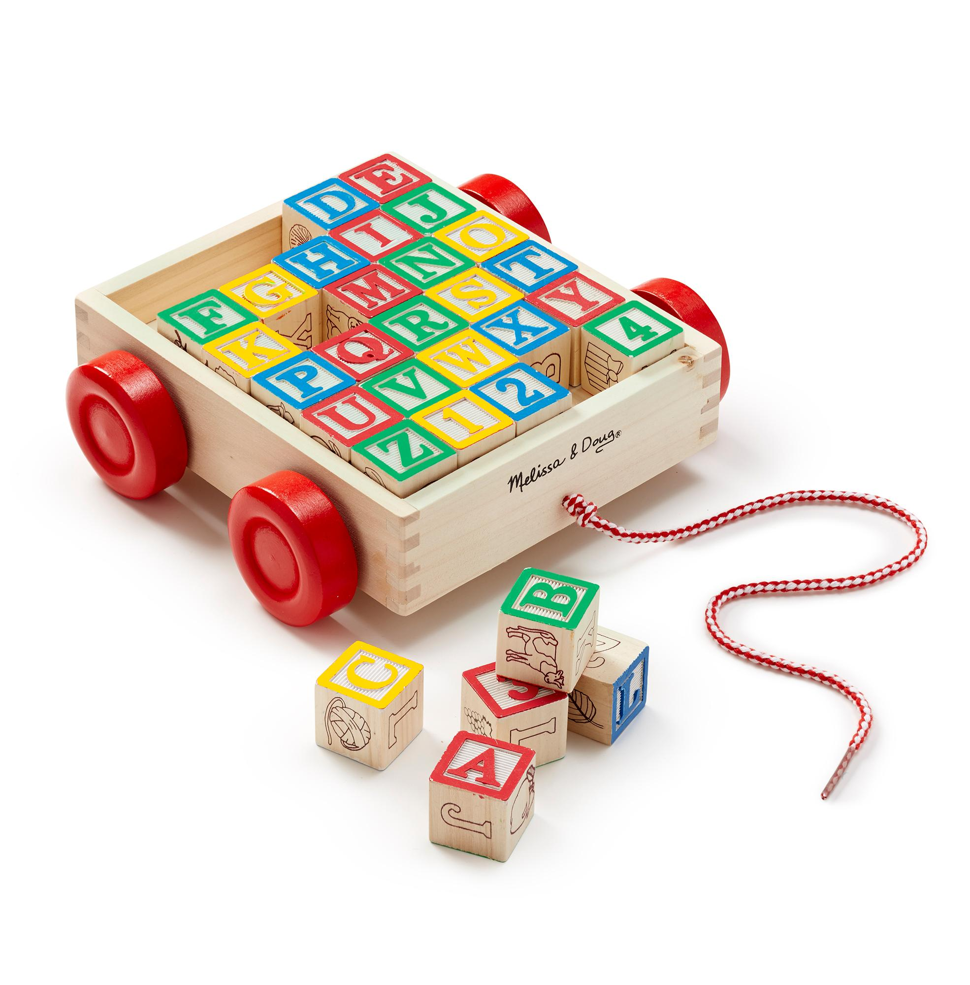 Melissa & Doug Classic ABC Wooden Block Cart Educational Toy With