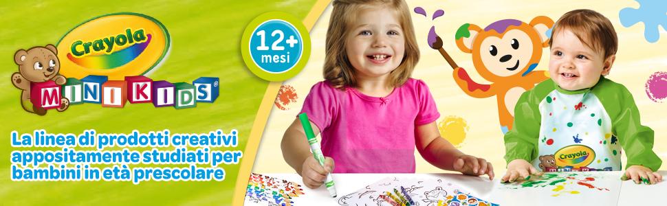 mini kids, crayola, asilo, prescolare, pennarelli, cera, matite, scuola, lavabile, tempere, manine