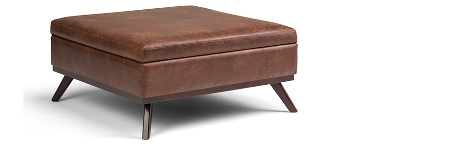 Pleasing Simpli Home Axcot267L Dsb Owen 38 Inch Wide Mid Century Modern Square Coffee Table Storage Ottoman In Distressed Saddle Brown Faux Air Leather Dailytribune Chair Design For Home Dailytribuneorg