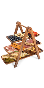 3 tier serving tray, serving platter, wood serving platter, cheese board, charcuterie boards,
