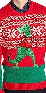 Men's Dinosaur Christmas Sweater, Ugly Christmas Sweater, Men's Ugly Christmas Sweater, Xmas Sweater