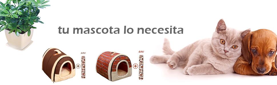 Cama/Caseta Perro Gato Interior 2 en 1, Casa Mascota Grande o Pequeño, Lavable Plegable Portátil, Cueva de Viaje para Perros Medianos Pequeños y Gatos ...