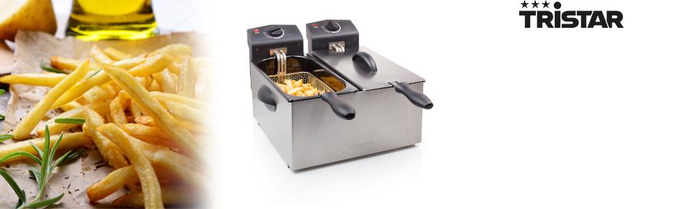2 x 3 Liter 2 x 1800 Watt Tristar FR-6937 Edelstahl Doppel-Fritteuse mi