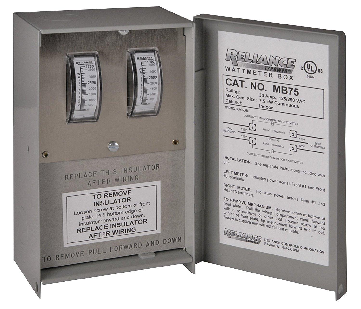 Reliance Controls Corporation Mb75 Watt Meter Box For Thread Ra28 Ammeter Wiring Help View Larger