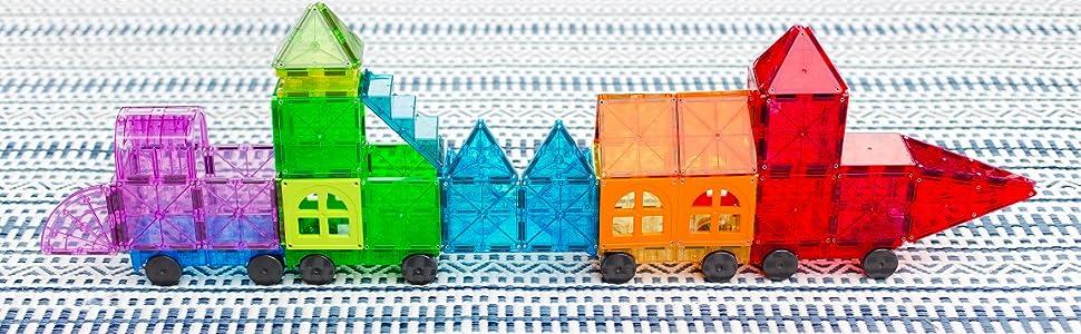 Magna-Tiles metropolis colorful train
