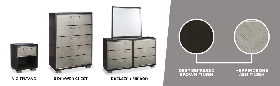 dresser mirror 5 drawer chest of drawers night stand nightstand deep espresso brown herringbone ash